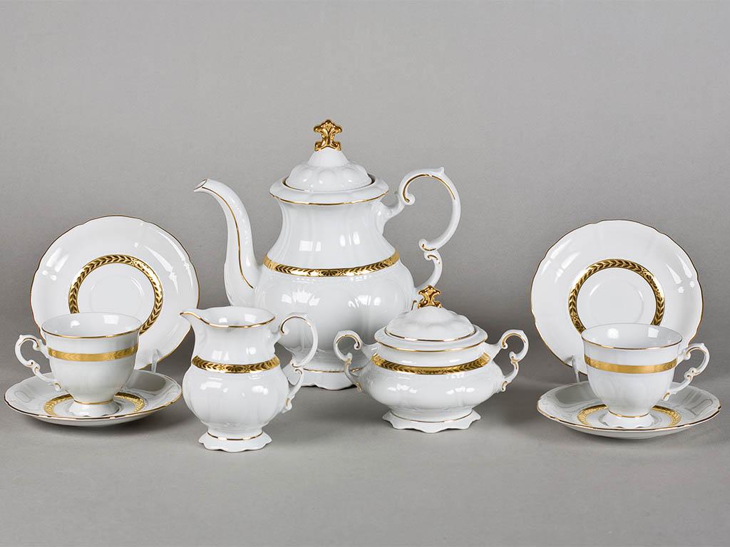 Фото Сервиз кофейный Леандер 15 предметов на 6 персон Форма Соната Белиссима золото