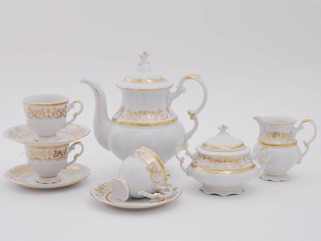 Фото Сервиз кофейный Леандер 15 предметов на 6 персон Форма Соната Королевский золотой
