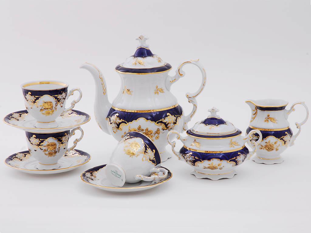 Фото Сервиз кофейный Леандер 15 предметов на 6 персон Форма Соната Виноград и золотая роза кобальт