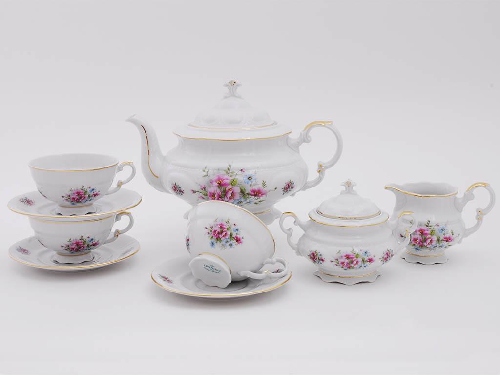 Фото Сервиз чайный Леандер 15 предметов на 6 персон Форма Соната Полевые цветы