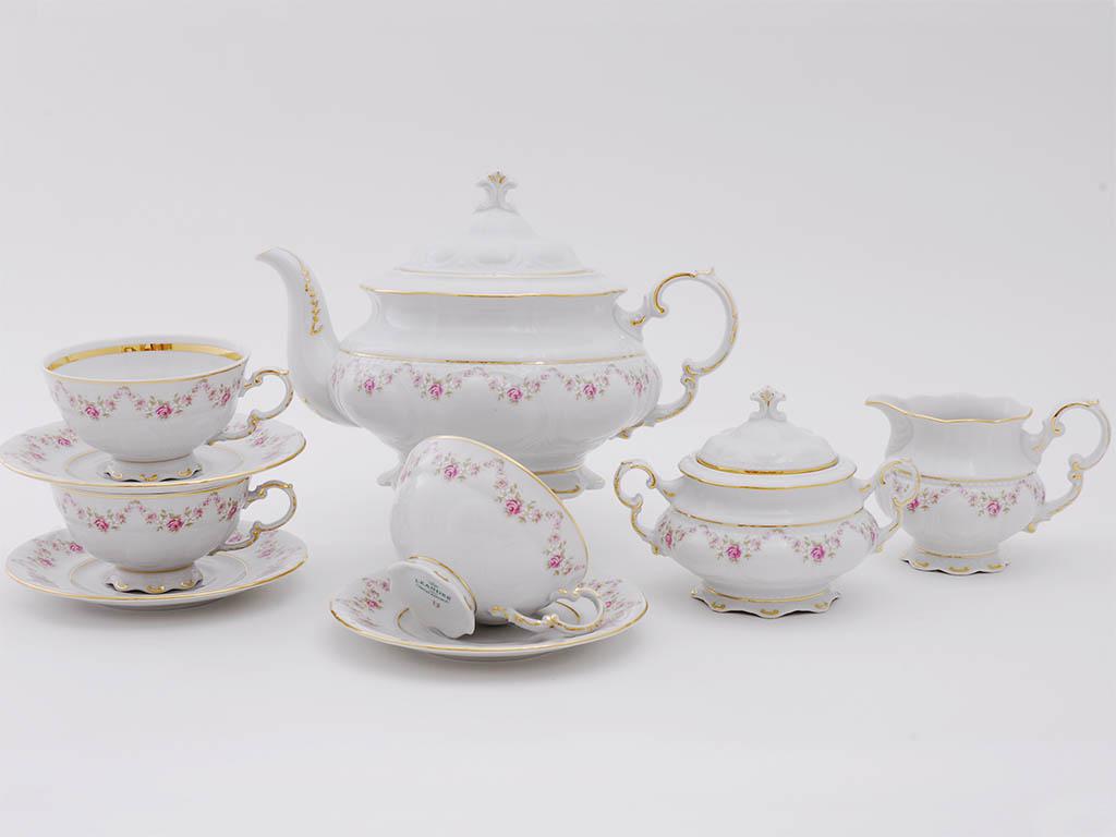 Фото Сервиз чайный Леандер 15 предметов на 6 персон Форма Соната Розовый бордюр