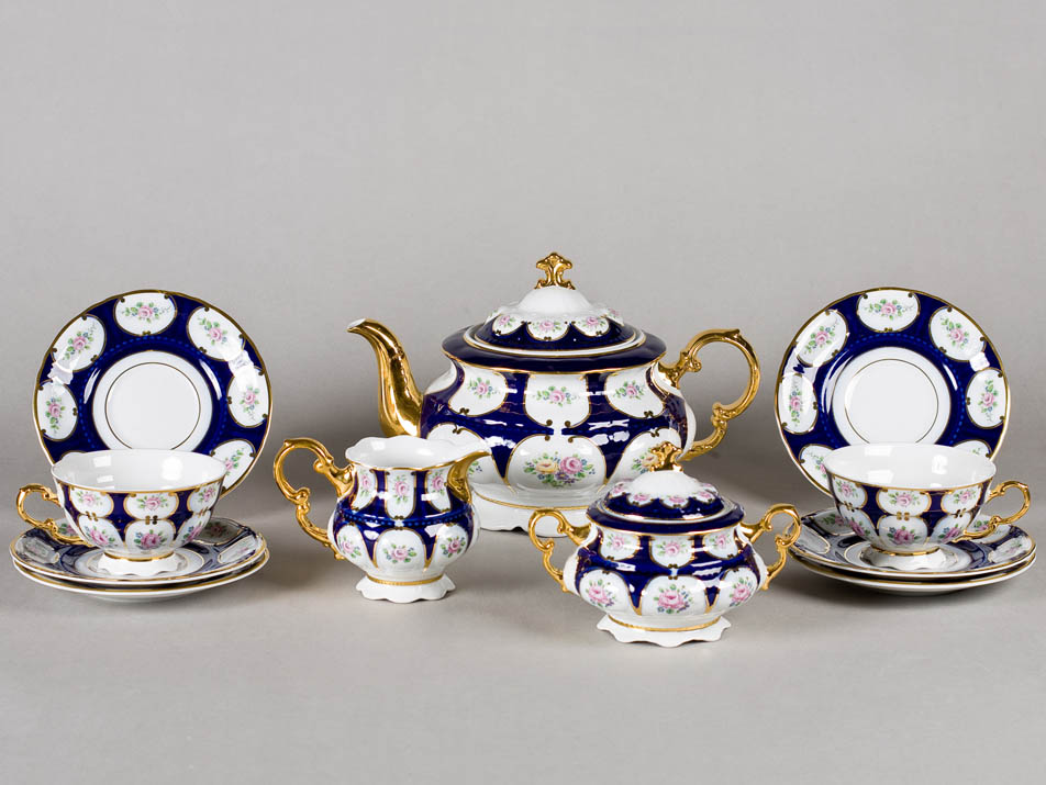 Фото Сервиз чайный Леандер 15 предметов на 6 персон Форма Соната Саксонская роза кобальт
