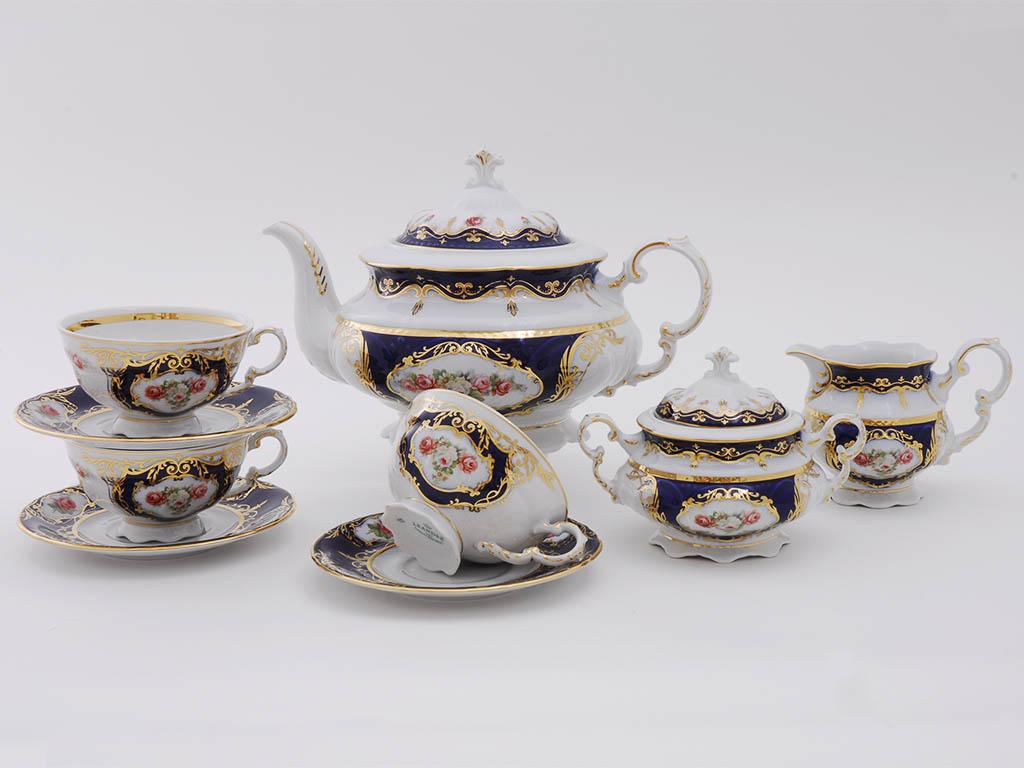 Фото Сервиз чайный Леандер 15 предметов на 6 персон Форма Соната Помпадур кобальт