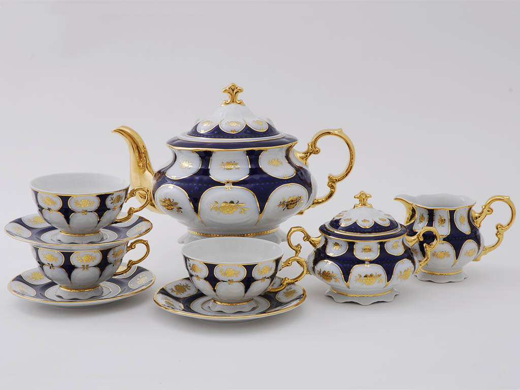 Фото Сервиз чайный Леандер 15 предметов на 6 персон Форма Соната Элизабет кобальт
