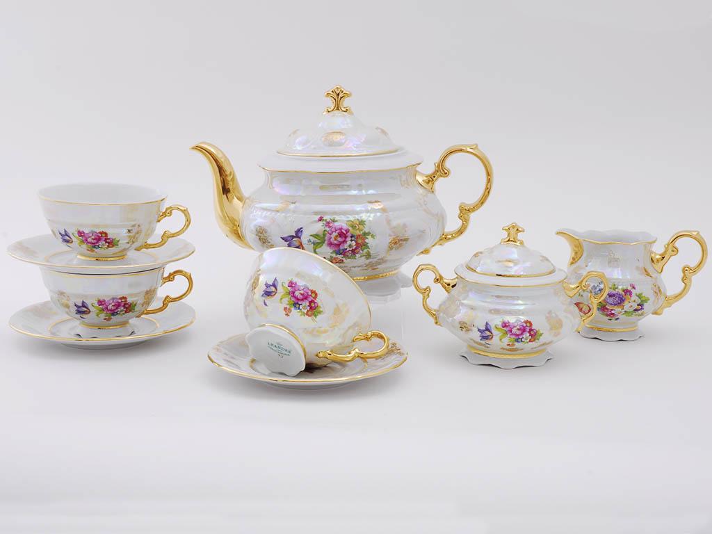 Фото Сервиз чайный Леандер 15 предметов на 6 персон Форма Соната Летний букет перламутр