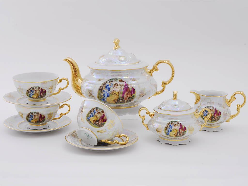 Фото Сервиз чайный Леандер 15 предметов на 6 персон Форма Соната Мадонна перламутр