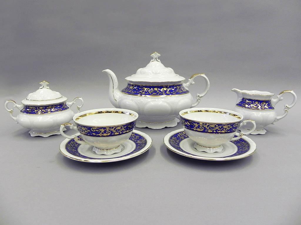 Фото Сервиз чайный Леандер 15 предметов на 6 персон Форма Соната Классический кобальт