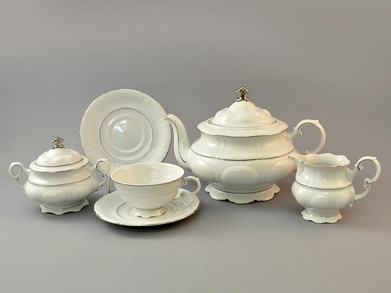 Фото Сервиз чайный Леандер 15 предметов на 6 персон, белый Форма Соната Платиновый контур
