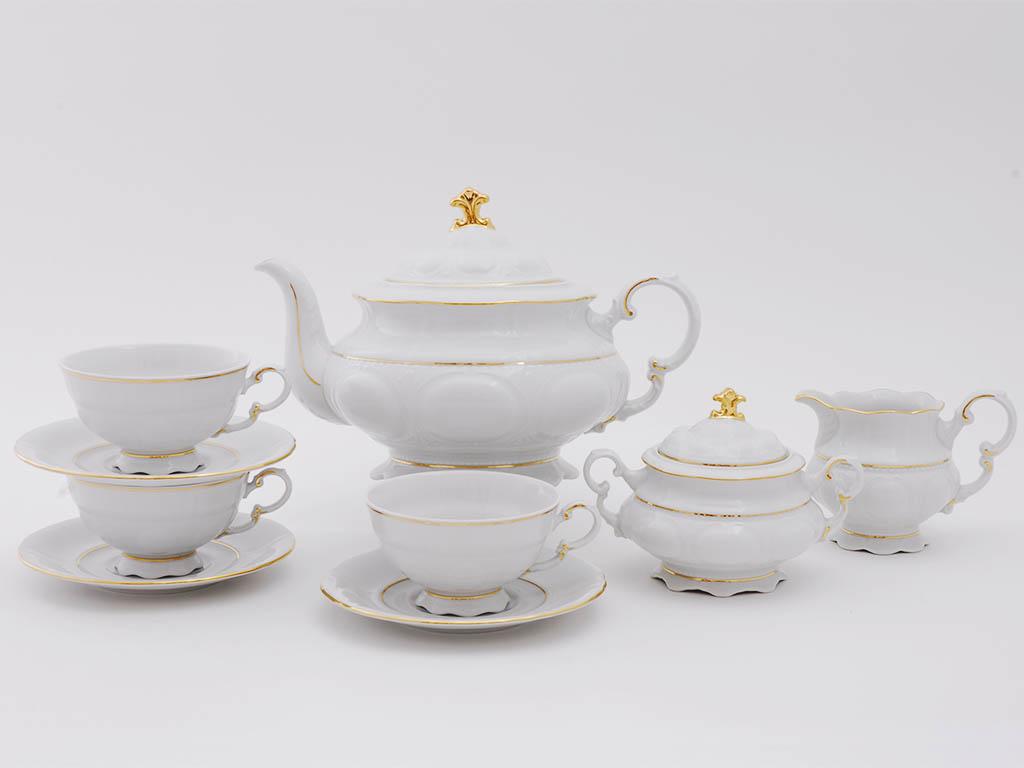 Фото Сервиз чайный Леандер 15 предметов на 6 персон Форма Соната Золотой контур