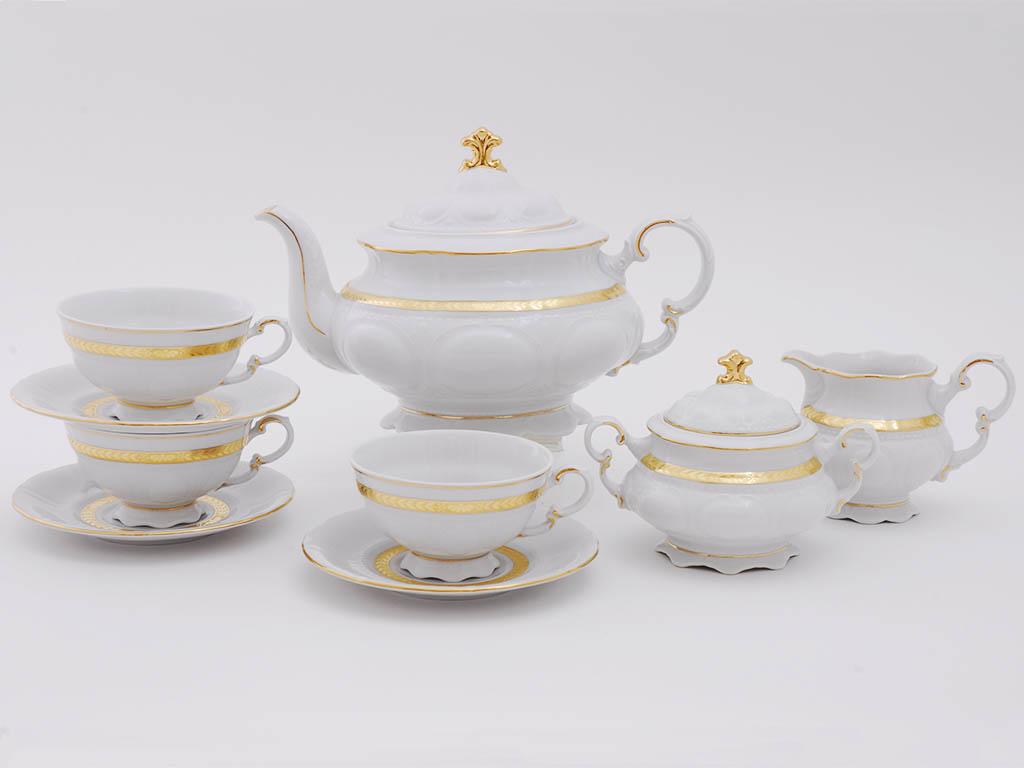 Фото Сервиз чайный Леандер 15 предметов на 6 персон Форма Соната Белиссима золото
