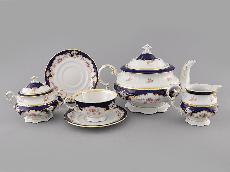 Фото Сервиз чайный Леандер 15 предметов на 6 персон Форма Соната Виноград и роза кобальт