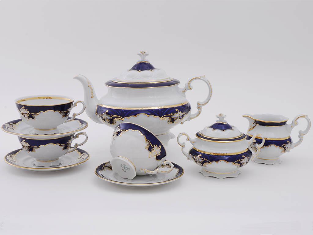 Фото Сервиз чайный Леандер 15 предметов на 6 персон Форма Соната Виноград кобальт