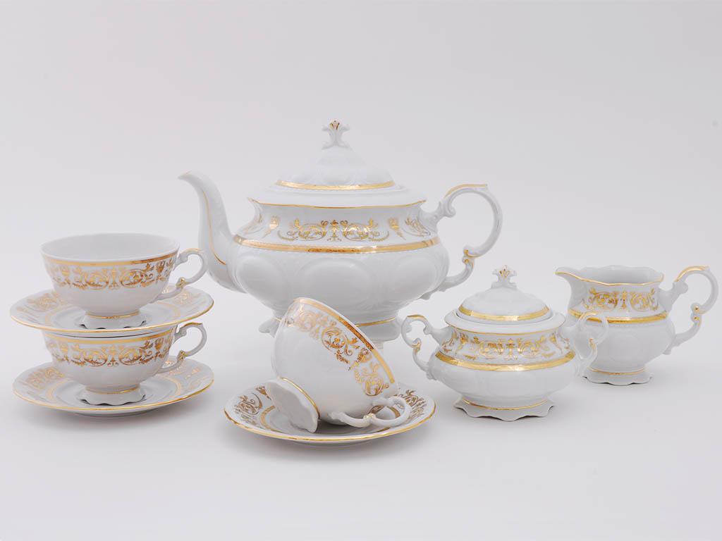 Фото Сервиз чайный Леандер 15 предметов на 6 персон Форма Соната Королевский золотой