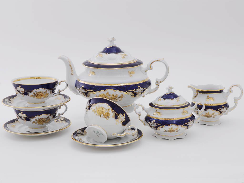Фото Сервиз чайный Леандер 15 предметов на 6 персон Форма Соната Виноград и золотая роза кобальт