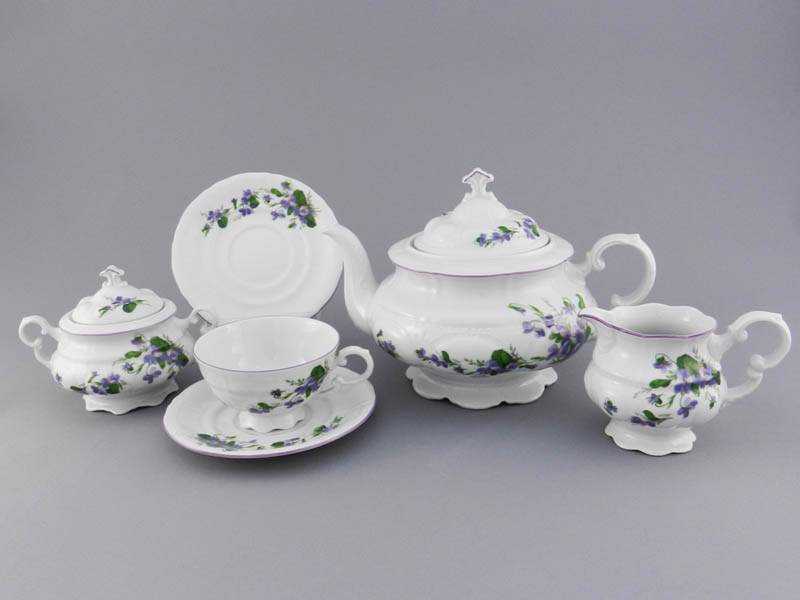 Фото Сервиз чайный Леандер 15 предметов на 6 персон Форма Соната Фиалки