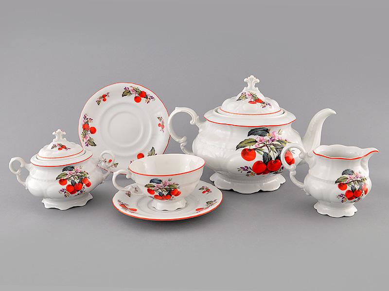 Фото Сервиз чайный Леандер 15 предметов на 6 персон Форма Соната Вишни