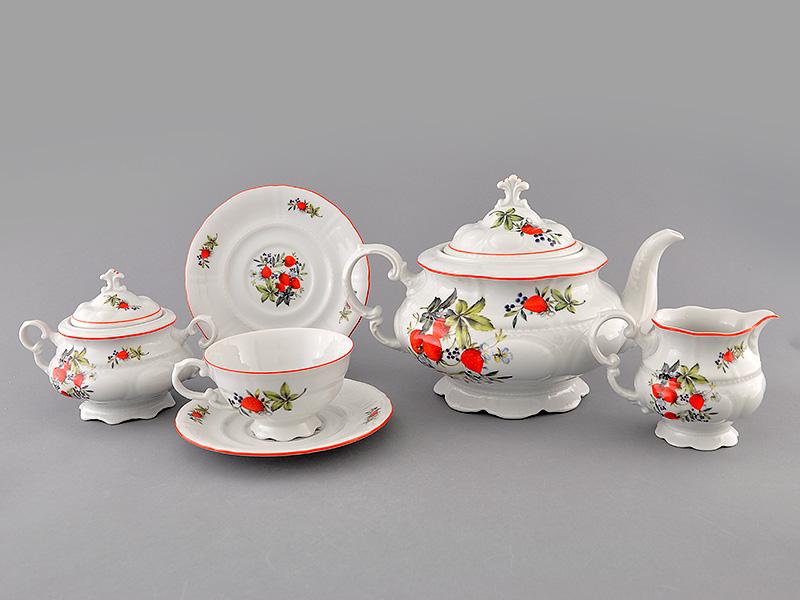 Фото Сервиз чайный Леандер 15 предметов на 6 персон Форма Соната Клубника