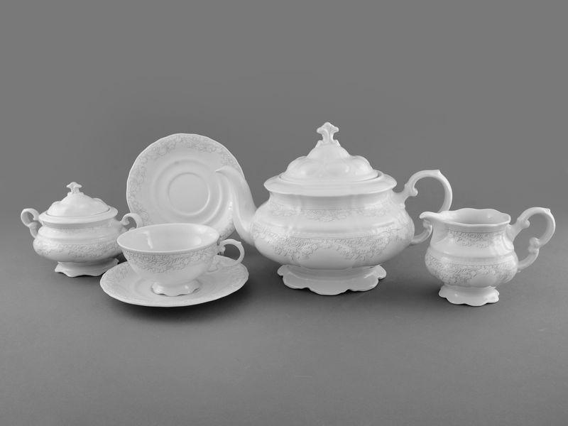 Фото Сервиз чайный Леандер 15 предметов на 6 персон Форма Соната Серый орнамент