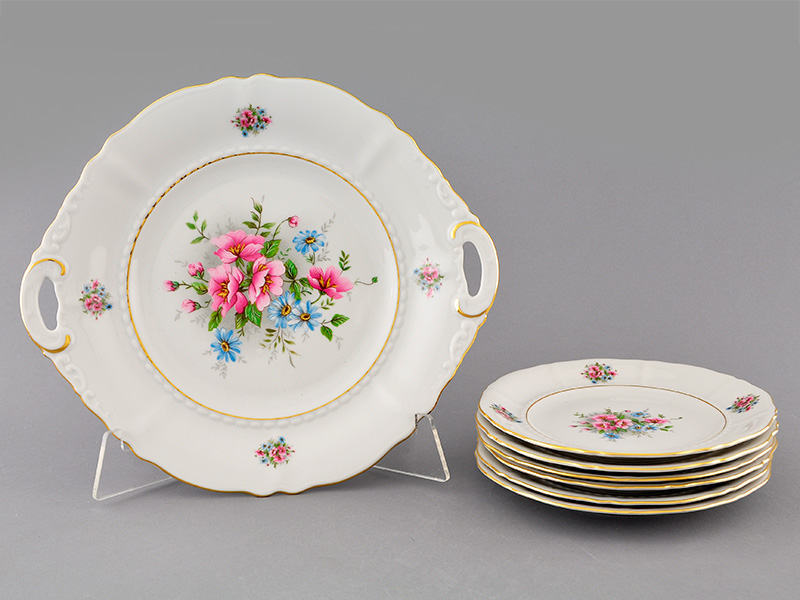Фото Набор для торта 7 предметов на 6 персон с десертными тарелками 17 см Форма Соната Полевые цветы