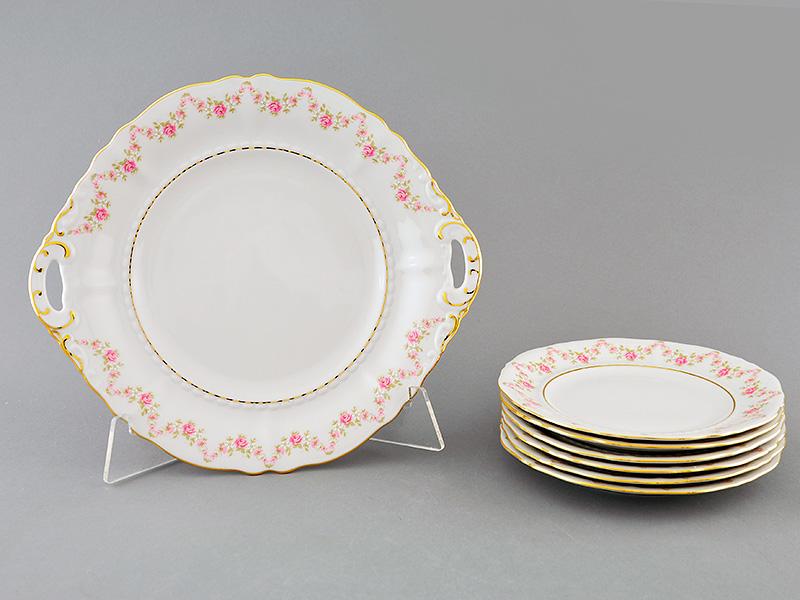 Фото Набор для торта 7 предметов на 6 персон с десертными тарелками 17 см Форма Соната Розовый бордюр