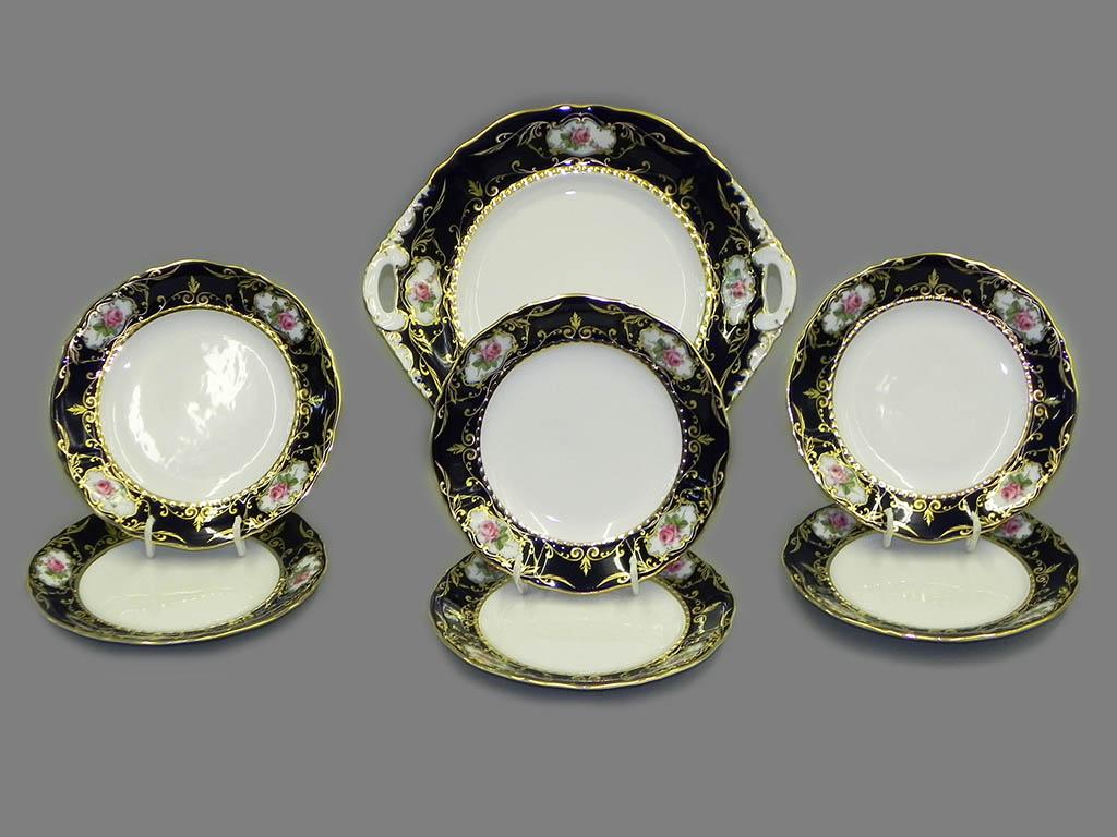 Фото Набор для торта 7 предметов на 6 персон с десертными тарелками 17 см Форма Соната Помпадур кобальт
