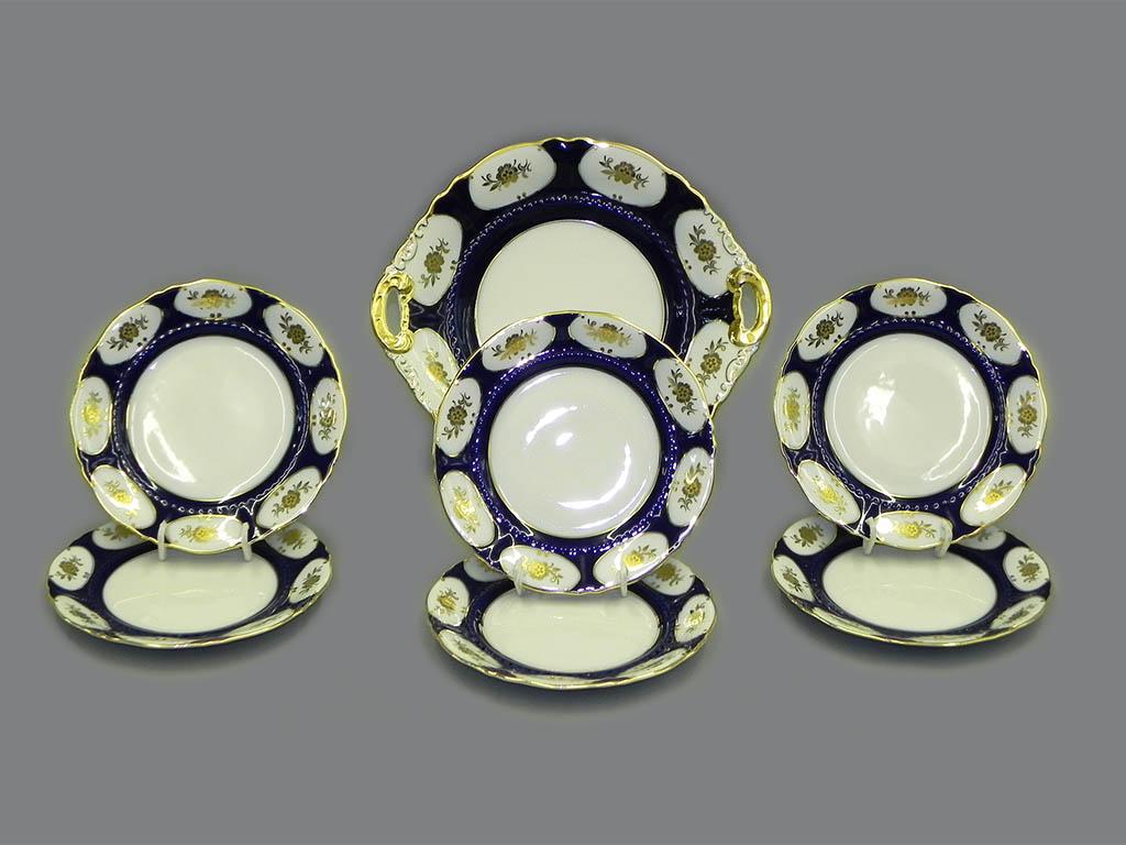 Фото Набор для торта 7 предметов на 6 персон с десертными тарелками 17 см Форма Соната Элизабет кобальт