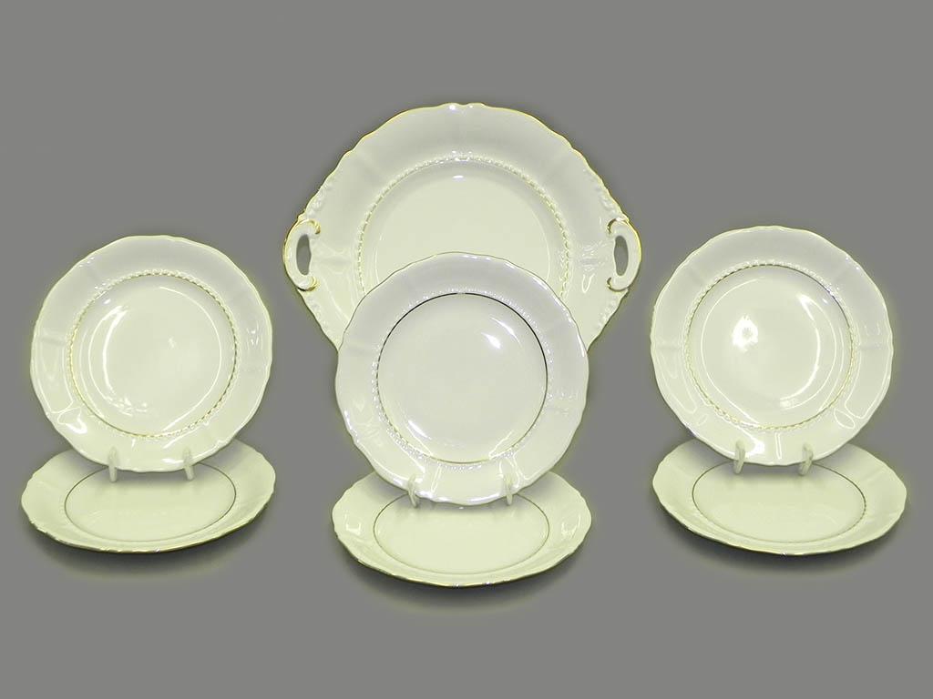 Фото Набор для торта 7 предметов на 6 персон с десертными тарелками 17 см Форма Соната Золотой контур