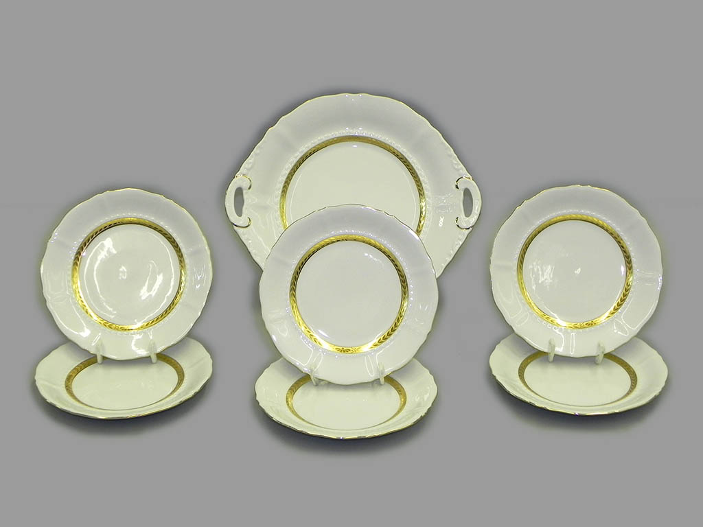 Фото Набор для торта 7 предметов на 6 персон с десертными тарелками 17 см Форма Соната Белиссима золото