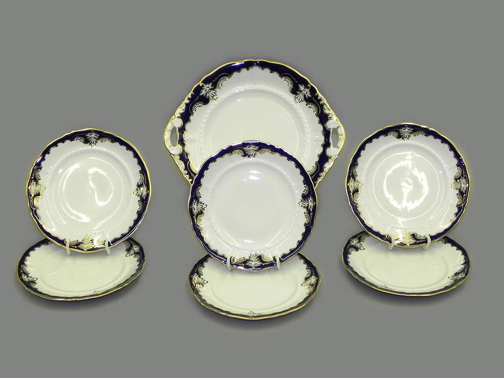 Фото Набор для торта 7 предметов на 6 персон с десертными тарелками 17 см Форма Соната Виноград кобальт