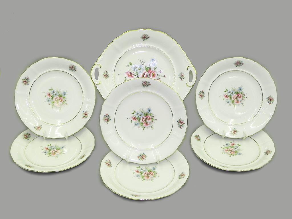 Фото Набор для торта 7 предметов на 6 персон с десертными тарелками 19 см Форма Соната Полевые цветы