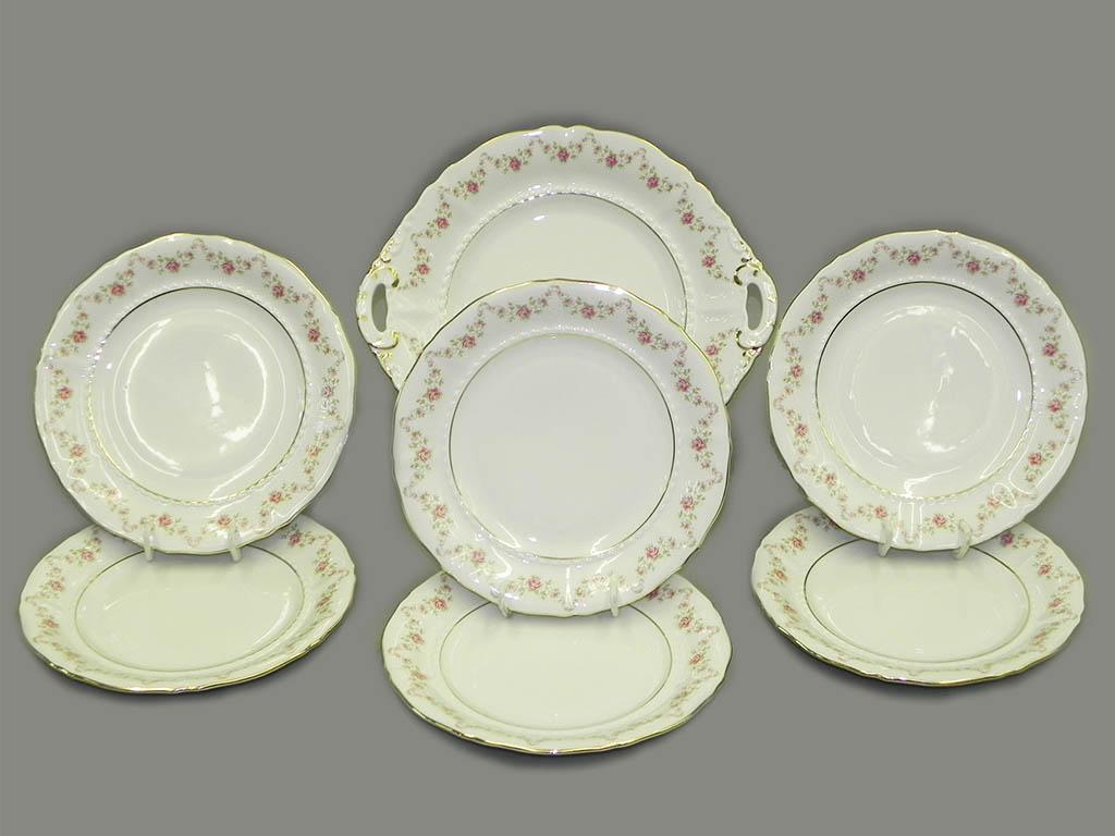 Фото Набор для торта 7 предметов на 6 персон с десертными тарелками 19 см Форма Соната Розовый бордюр
