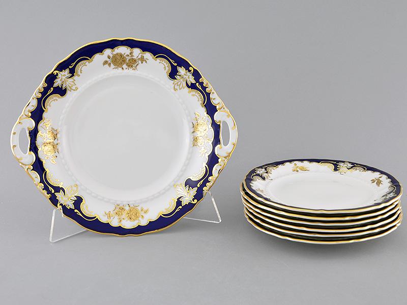 Фото Набор для торта 7 предметов на 6 персон с десертными тарелками 19 см Форма Соната Виноград и золотая роза кобальт