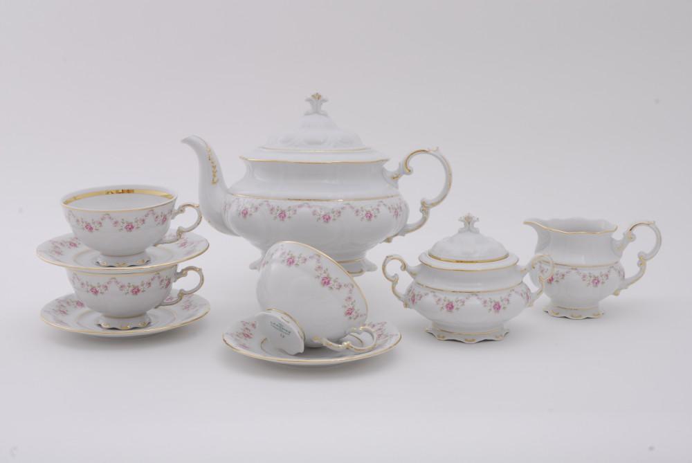 Фото Сервиз чайно-столовый Розовый бордюр 40 предметов на 6 персон, Леандер Форма Соната