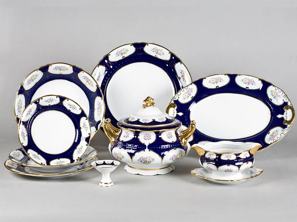 Фото Сервиз чайно-столовый Саксонская роза кобальт 40 предметов на 6 персон, Леандер Форма Соната