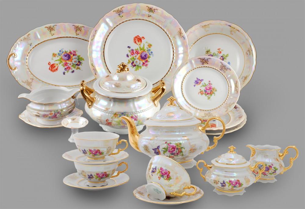 Фото Сервиз чайно-столовый Летний букет перламутр 40 предметов на 6 персон, Леандер Форма Соната