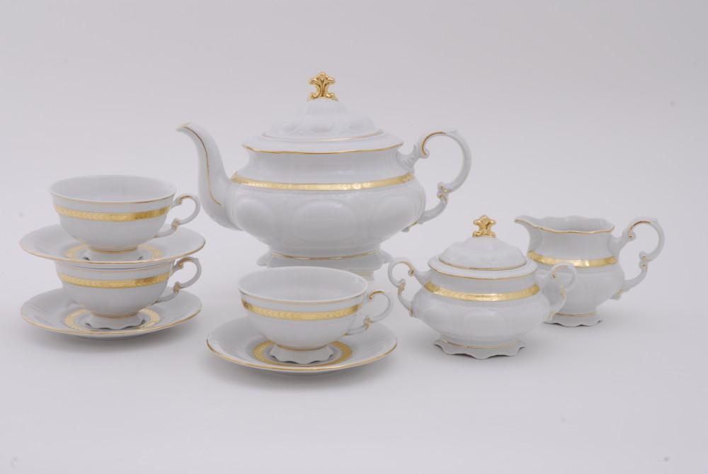 Фото Сервиз чайно-столовый Белиссима золото 40 предметов на 6 персон, Леандер Форма Соната
