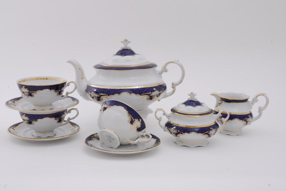 Фото Сервиз чайно-столовый Виноград кобальт 40 предметов на 6 персон, Леандер Форма Соната