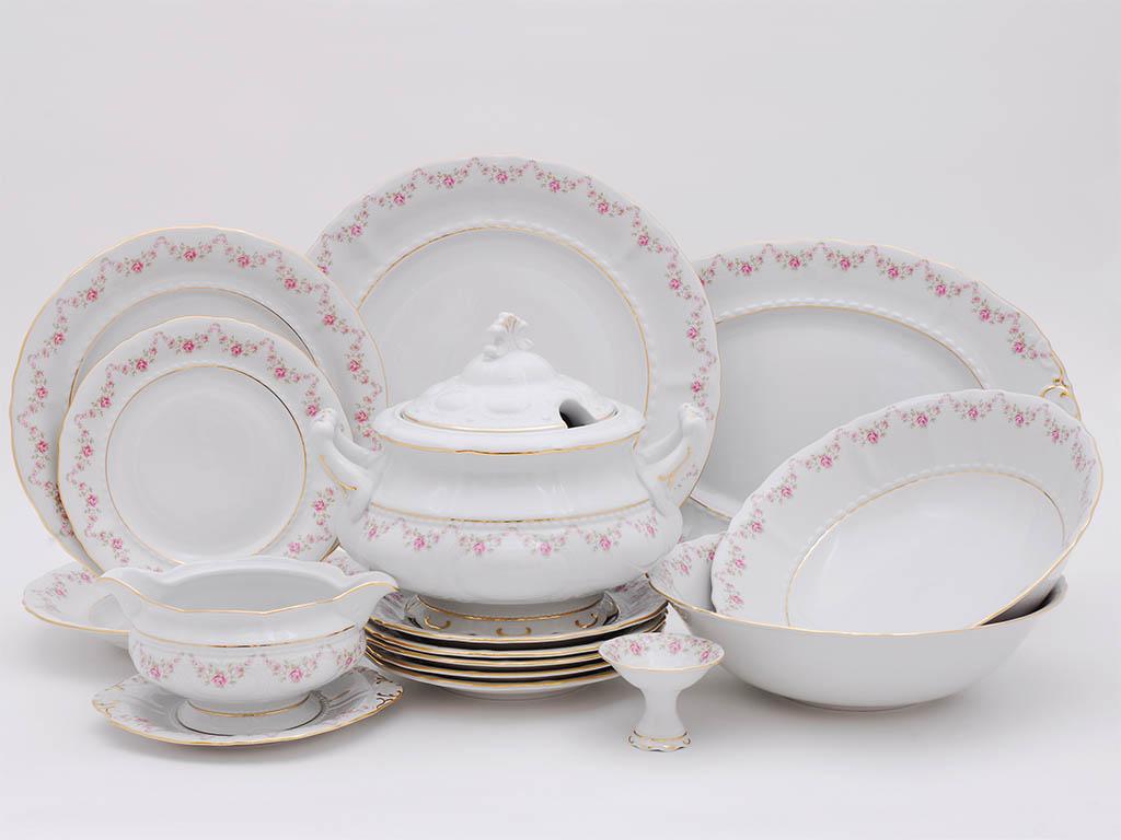 Фото Сервиз столовый Леандер 25 предметов на 6 персон, Форма Соната Розовый бордюр