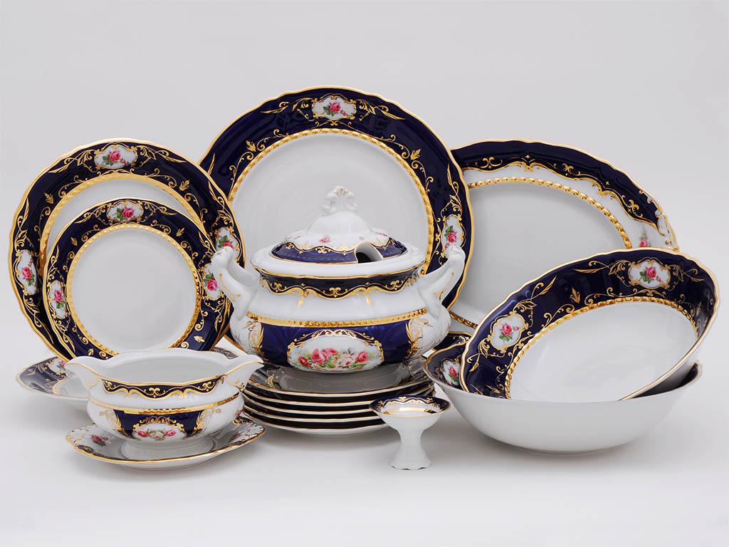 Фото Сервиз столовый Леандер 25 предметов на 6 персон, Форма Соната Помпадур кобальт