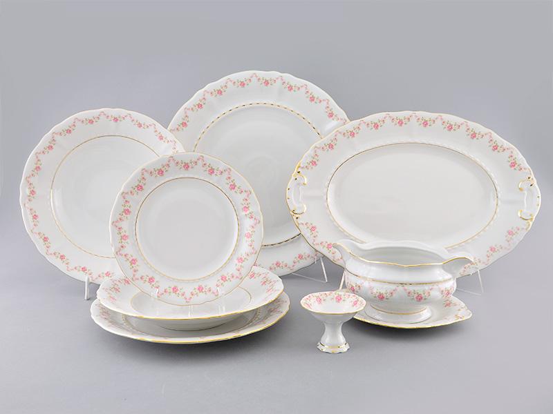 Фото Сервиз столовый 24 предмета на 6 персон, без супницы,  Форма Соната Розовый бордюр