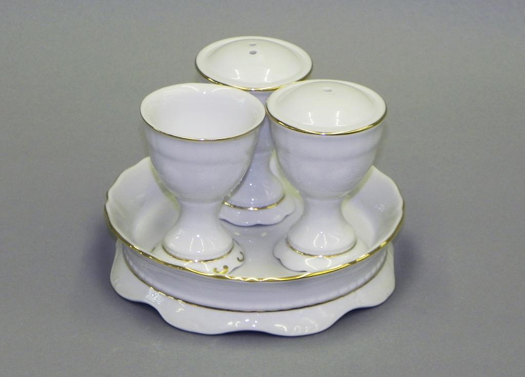 Фото Набор для приправ Леандер, 4 предмета, Форма Соната Золотой контур