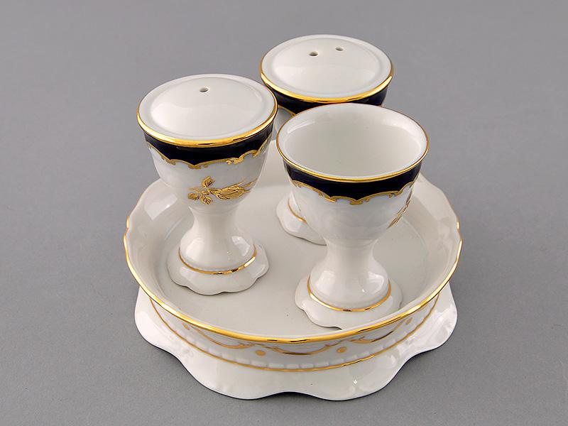 Фото Набор для приправ Леандер, 4 предмета, Форма Соната Виноград и золотая роза кобальт