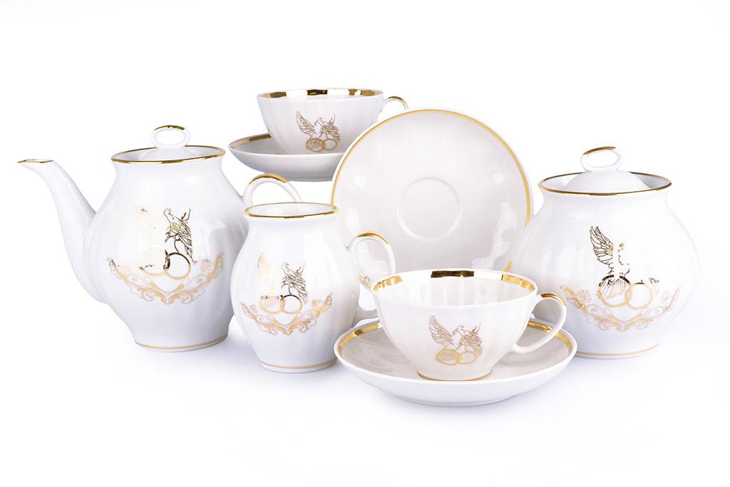 Фото Сервиз чайный Дулево Белый лебедь С Днем свадьбы, 15 предметов 2с