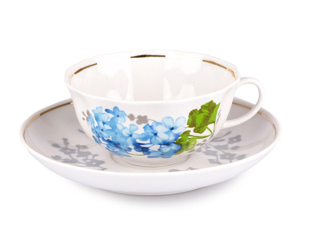 Фото Сервиз чайный Дулево Тюльпан Голубая герань, 15 предметов