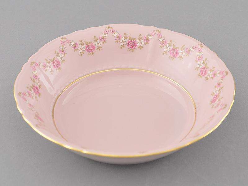 Фото Салатник 20 см Форма Соната Розовый бордюр - Розовый фарфор