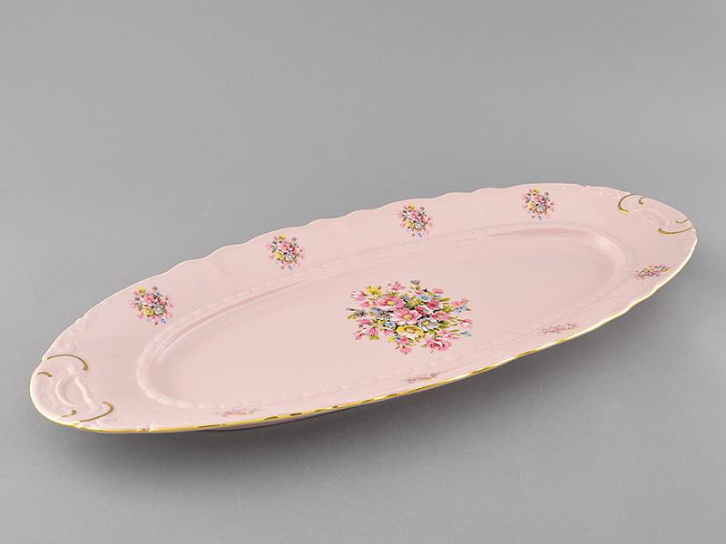 Фото Блюдо овальное Леандер 55,5 см Форма Соната Букетик - Розовый фарфор - Розовый фарфор