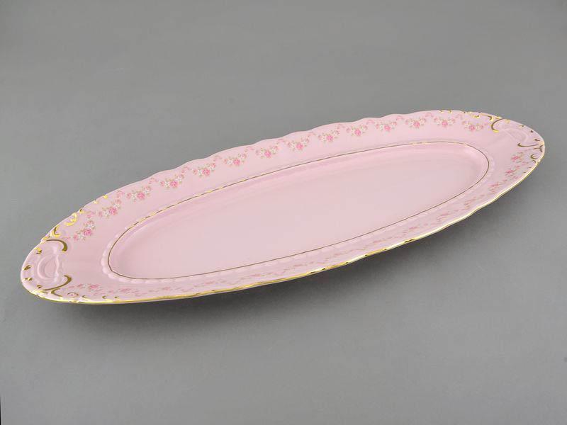 Фото Блюдо овальное Леандер 55,5 см Форма Соната Розовый бордюр - Розовый фарфор