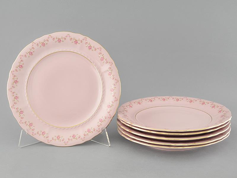 Фото Набор тарелок мелких 25 см, 6 шт, Форма Соната Розовый бордюр - Розовый фарфор