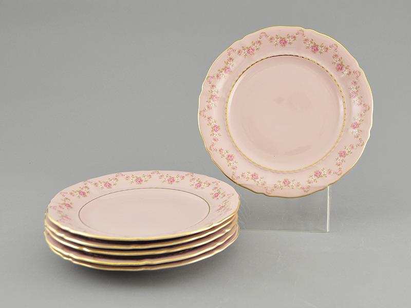 Фото Набор тарелок 18 предметов с десертной тарелкой 19 см Форма Соната Розовый бордюр - розовый фарфор