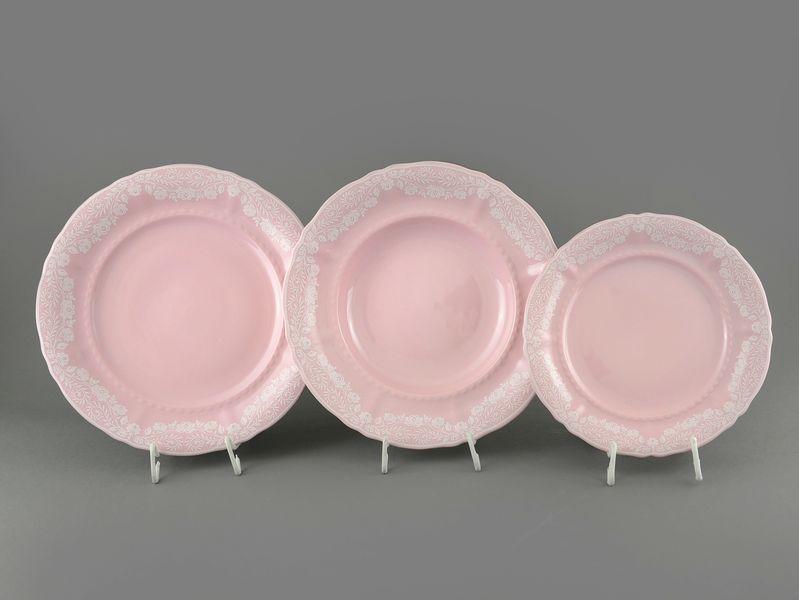 Фото Набор тарелок 18 предметов с десертной тарелкой 19 см Форма Соната Белый орнамент - Розовый фарфор